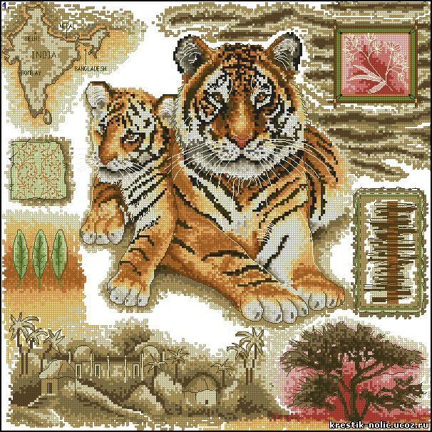 Амурские тигры вышивка